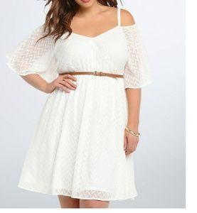 torrid white textured off shoulder dress